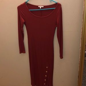 A Maroon/ dark orange color sleeve dress